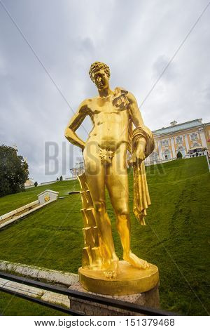 golden statue in Peterhof September 14 2016 St. Petersburg Russia