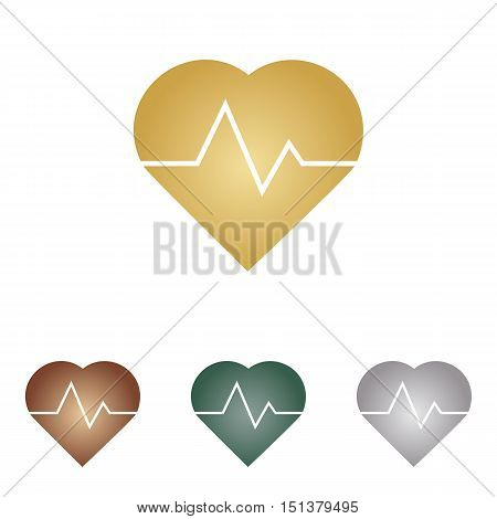 Heartbeat Sign Illustration. Metal Icons On White Backgound.