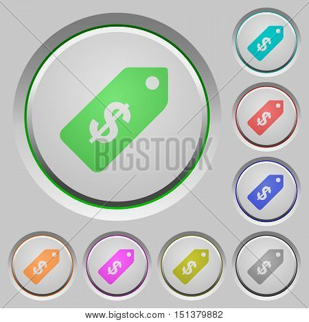 Set of color Dollar price label sunk push buttons.