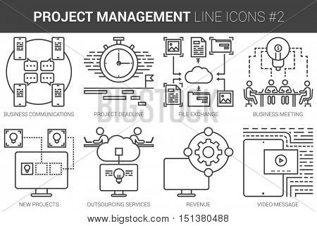 Project management infographic metaphor with line icons. Project management concept for website and infographics. Vector line art icon set isolated on white background.