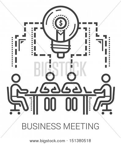 Business meeting infographic metaphor with line icons. Business meeting concept for website and infographics. Vector line art icon isolated on white background.