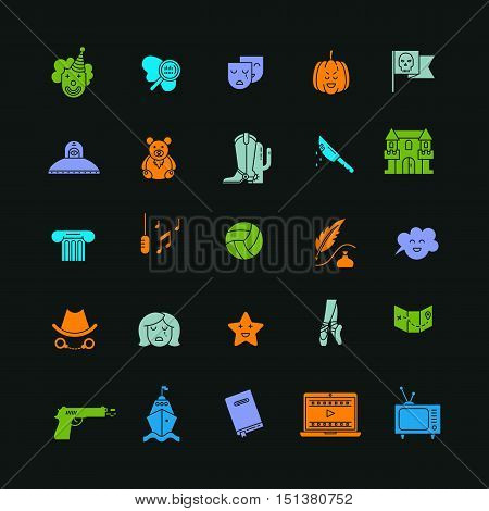 Vector set of movie genres flat icons isolated on dark background. Different film genre elements perfect for infographic or mobile app
