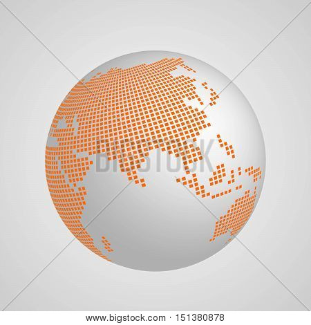 Vector planet Earth globe with orange squared map of continent Asia. 3D ilustration with shadow and gradient background.