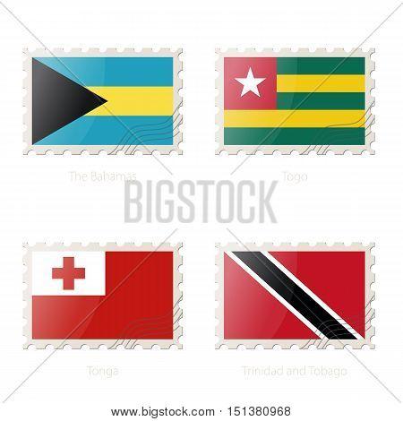 Postage Stamp With The Image Of The Bahamas, Togo, Tonga, Trinidad And Tobago Flag.