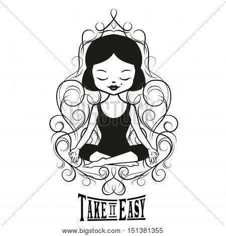 Cute Girl sitting in a yoga pose. Take it easy. Inspirational girly tattoo. Floral frame with crown and heart.