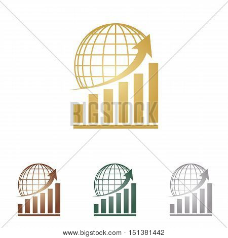 Growing Graph With Earth. Metal Icons On White Backgound.