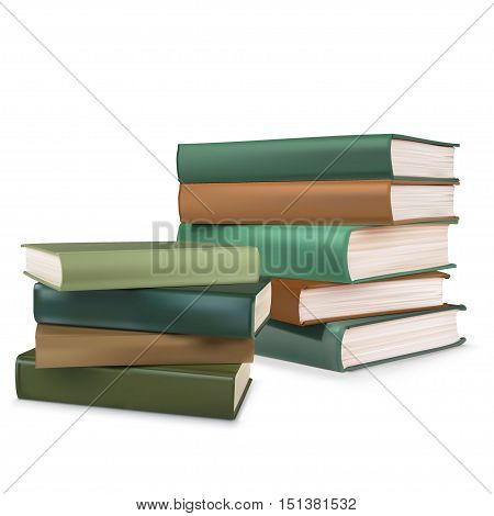 Book collection on a white background .