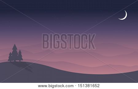 Silhouette of hill and spruce scenery vector art