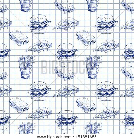 Hand drawn fast food pattern. Burger, pizza, french fries detailed illustrations. Great for school cafe menu or banner. Squared paper. Vector EPS10 illustration