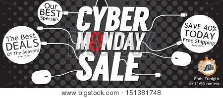 8000x3176 Pixel Modern Black Polka Dot Cyber Monday Super Wide Banner Vector Illustration. EPS 10