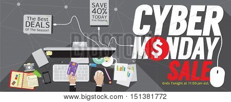 8000x3200 Pixel Cyber Monday Super Wide Banner Vector Illustration. EPS 10