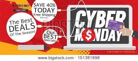 8000x3200 Pixel Cyber Monday Super Wide Banner Vector Illustration. EPS 10