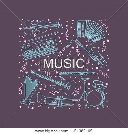 Unique illustration with different music instruments synthesizer, drums, accordion, violin, trumpet, harp, drum, saxophone electric guitar flute Place for your text