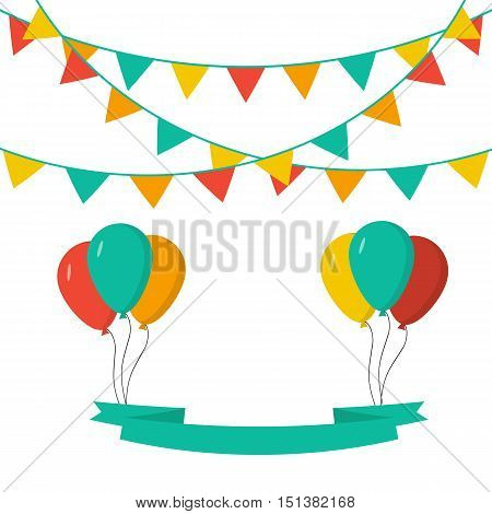 Celebrate and holidays background with flags, ballons and ribbon.