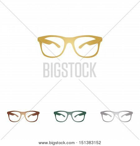 Sunglasses Sign Illustration. Metal Icons On White Backgound.