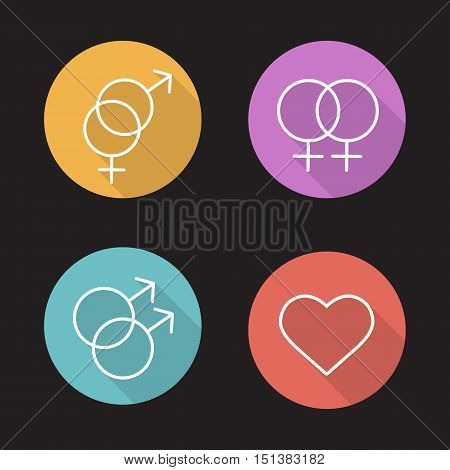 Homosexual and heterosexual relationships flat linear long shadow icons set. Gay, lesbian and hetero couples signs. Love equality. Heart shape pictogram. Vector line symbols