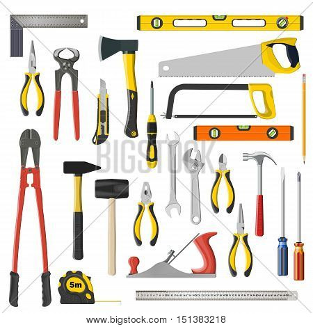 Set Of Vector Repair And Woodwoork Tools On A White Background