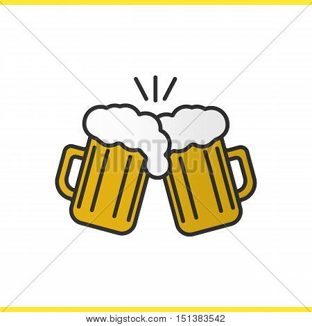 Toasting beer glasses color icon. Cheers. Two foamy beer glasses. Isolated vector illustration