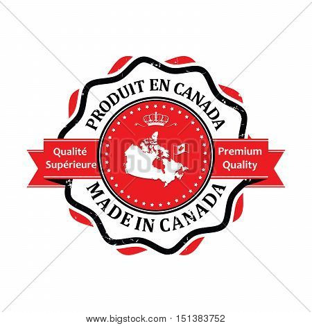 Made in Canada, Premium Quality (Text in English and French language: Produit en Canada, Qualite Superieure) grunge label containing the map and flag colors of Canada.