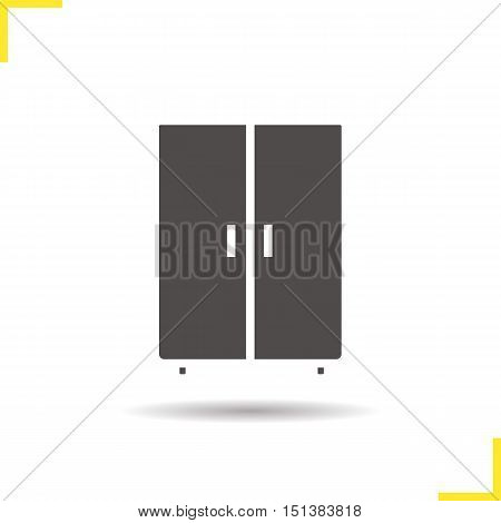 Wardrobe icon. Drop shadow closet silhouette symbol. Cabinet. Negative space. Vector isolated illustration