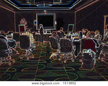 Glowing Classroom Or Business Meeting