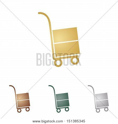 Hand Truck Sign. Metal Icons On White Backgound.