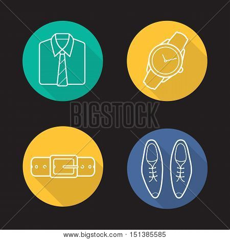 Men's clothing flat linear long shadow icons set. Folded shirt with tie, wristwatch, leather belt and classic shoes. Vector line symbols