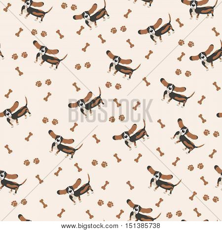 Dogs Vector Seamless pattern. Dog Basset Hound, bone, paw print