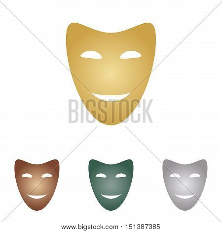 Comedy Theatrical Masks. Metal Icons On White Backgound.