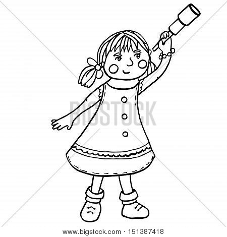 Cute little girl with telescope isolated on white background