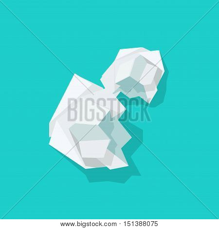 Crumpled paper ball vector illustration isolated on blue background, wrinkled peace of paper