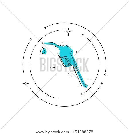 Gasoline pump nozzle sign. Gas station icon. Fuel pump petrol station. drop of gasoline.  refuel service. Vector illustration. linear design