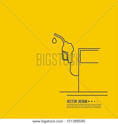 Gasoline pump nozzle sign. Gas station icon. Fuel pump petrol station. drop of gasoline.  refuel service. Vector illustration