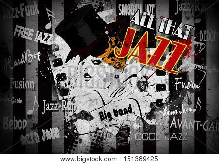 Jazz poster with the woman in retro style