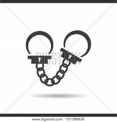 Handcuffs icon. Drop shadow silhouette symbol. Negative space. Vector isolated illustration