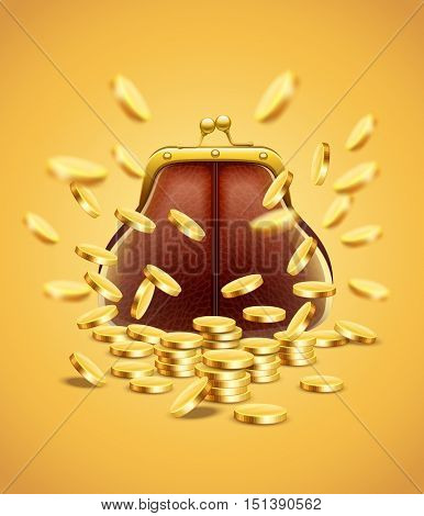Classic vintage purse with gold coins money crumbling and falling down jackpot concept vector illustration. Financial success, luck. Fortune creative