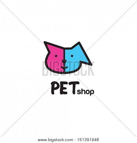 Pet shop logo design - symbol. Stylized modern design element. Cat and dog. For pet shop.