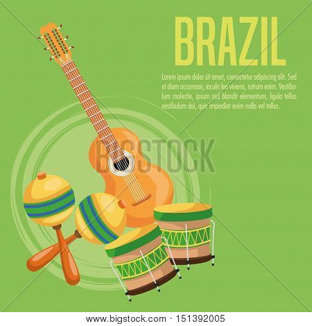 Guitar drum and maraca icon. Brazil culture america and tourism theme. Colorful design. Vector illustration
