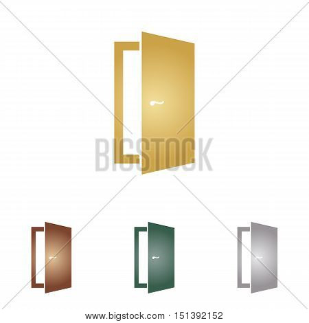 Door Sign Illustration. Metal Icons On White Backgound.