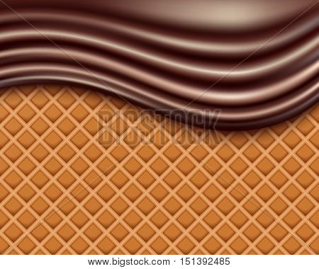 Wafer and flowing chocolate . vector illustration