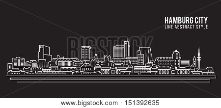 Cityscape Building Line art Vector Illustration design - Hamburg city