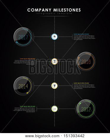 Infographic company milestones timeline vector template with led light effect - dark version
