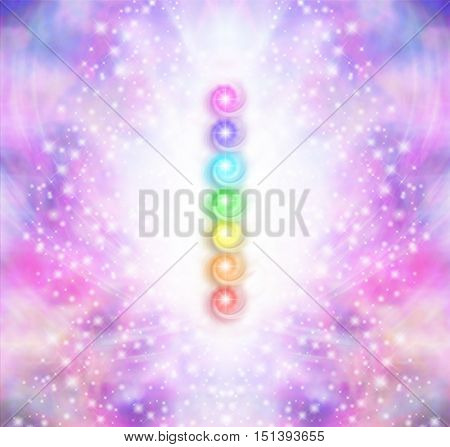 Seven Chakra Vortex Stack  -  Symmetrical oink and purple sparkling starry colored energy field with a vertical row of seven rainbow colored chakras placed in the center