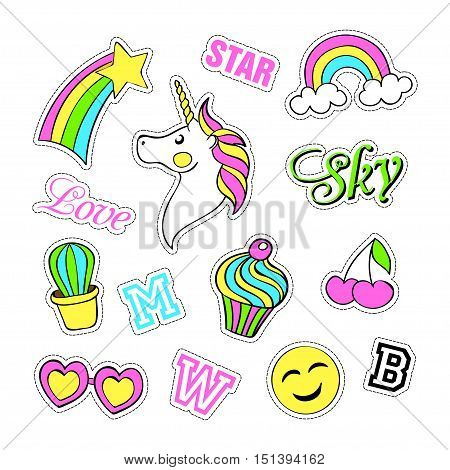 Pop art set with fashion patch badges and different elements. Stickers, pins, patches, quirky, handwritten notes collection. 80s-90s style. Trend. Vector illustration isolated. Vector clip art.