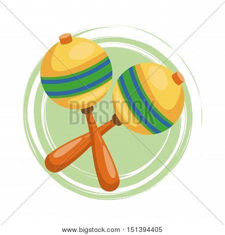 Maraca icon. Instrument music and sound theme. Colorful design. Vector illustration
