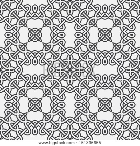 spears with circles and celtic knot motif abstract vector seamless pattern background