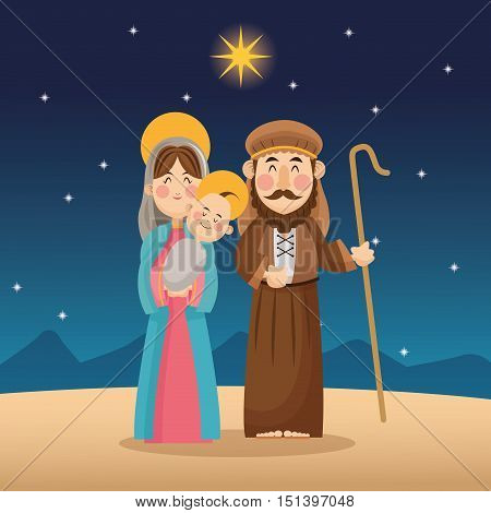 Baby jesus mary and joseph cartoon icon. Holy family and merry christmas season theme. Colorful design. Vector illustration