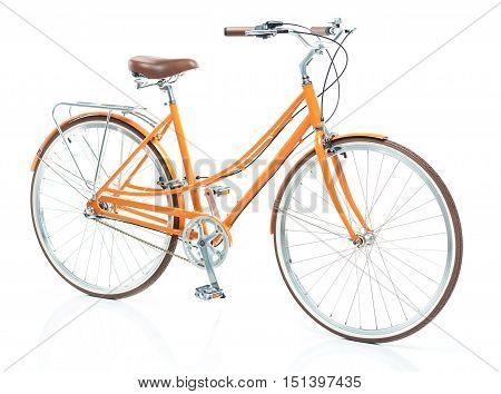 Stylish womens orange bicycle isolated on white background