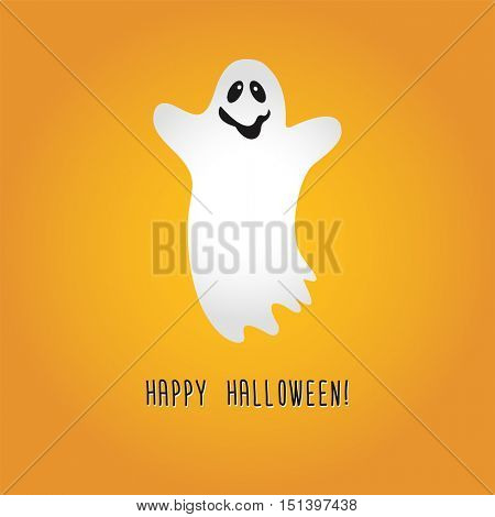 Ghost Cartoon Halloween . Vector Illustration