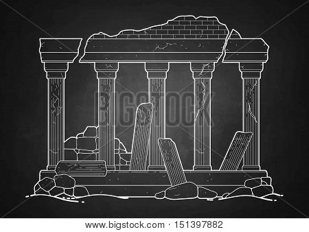 Graphic half-ruined architecture with column drawn in line art style. Ancient building isolated on the chalkboard.